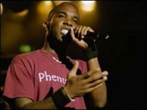 Phoenix James performing poetry on BBC Three's Slam Poet's in 2004