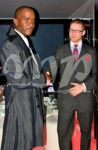 Phoenix James Winner of Fashion TV Best Male Model Award pictured with menswear tailor and designer Aaron Ray Dowie