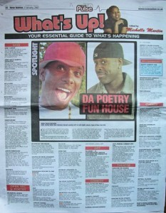 Phoenix James in the Press for Performance Poetry and Spoken Word in 2006