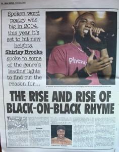 Phoenix James in the Press for Performance Poetry & Spoken Word 2005