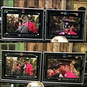 Phoenix James on set via the film monitors