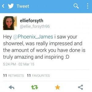 Phoenix James Mention on Twitter