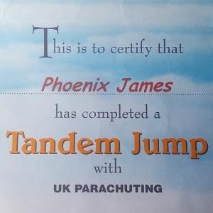 Phoenix James - Tandem Skydiving Certificate