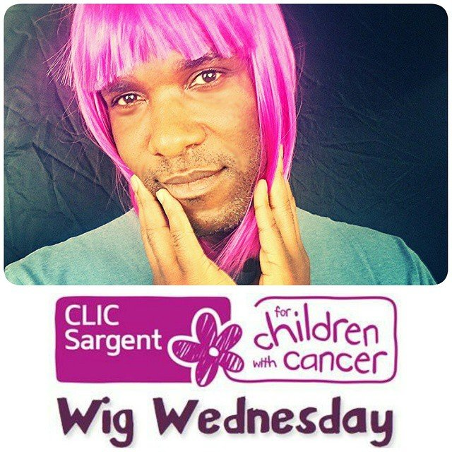Phoenix James wearing a wig for CLIC Sargent's Wig Wednesday to support young cancer patients.