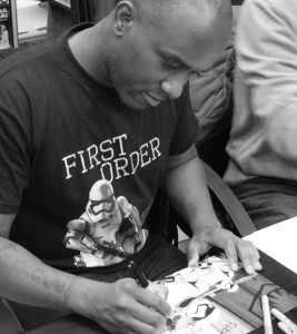 Phoenix James - Star Wars: The Force Awakens First Order Stormtrooper Actors Autograph Signing at Pulp's Toys in Paris, France Episode 7 8 9 VII VIII IX