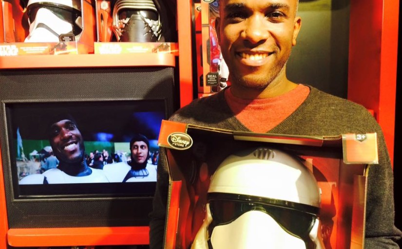 Actor Phoenix James at the Disney Toy store for Force Friday. Star Wars Episode VII - The Force Awakens