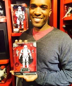 Actor Phoenix James at the Disney Toy store on Force Friday. Star Wars Episode VII - The Force Awakens.