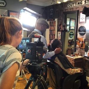 Actor Phoenix James on set for Wailing Banshee video shoot at Equinox Gentlemans Refinery Barber Shop - Southampton