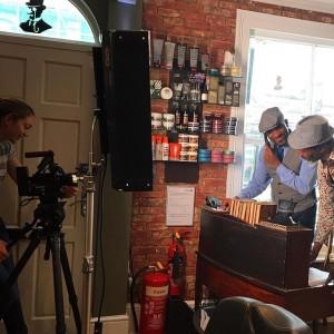 Actor Phoenix James on set for Wailing Banshee video shoot - Equinox Gentlemans Refinery Barber Shop - Southampton
