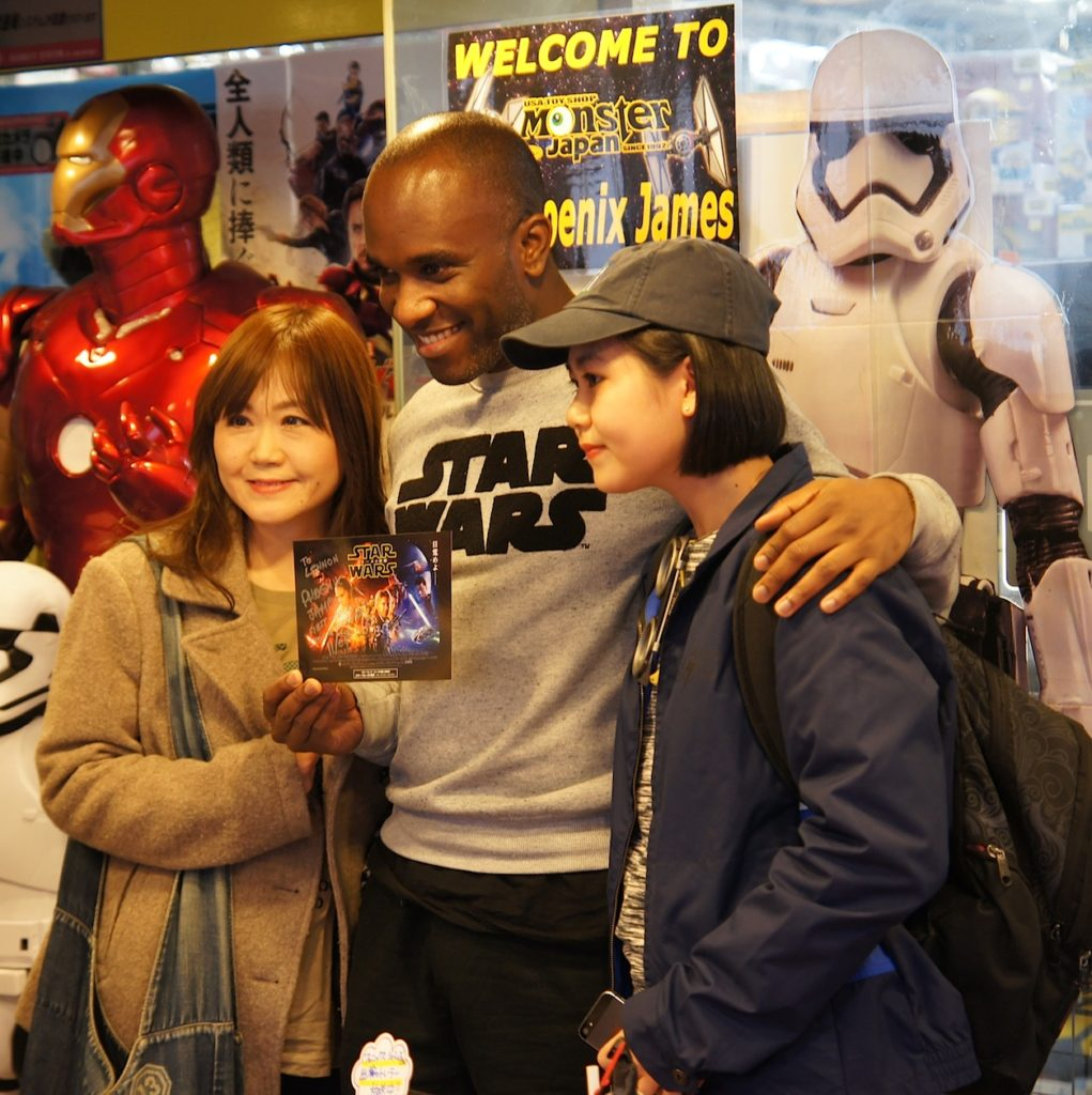 First Order Stormtrooper Actor Phoenix James at Monster Japan Toy Store in Tokyo