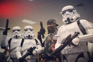 First Order Stormtrooper Actor Phoenix James with the 501st UK Garrison in Bristol