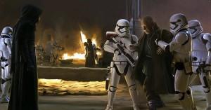 First Order Stormtrooper Actors (Phoenix James) brings Lor San Tekka (Max Von Sydow) before Kylo Ren (Adam Driver) on Jakku in Star Wars: The Force Awakens Episode 7 8 9 VII VIII IX