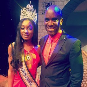 Miss Barbados UK 2016 Winner - Miss Shereé Miller with Phoenix James - An Official Judge for Miss Barbados UK 2015 & 2016