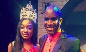 Miss Barbados UK 2016 Winner - Miss Sheree Miller with Phoenix James - An Official Judge for Miss Barbados UK 2015 and 2016