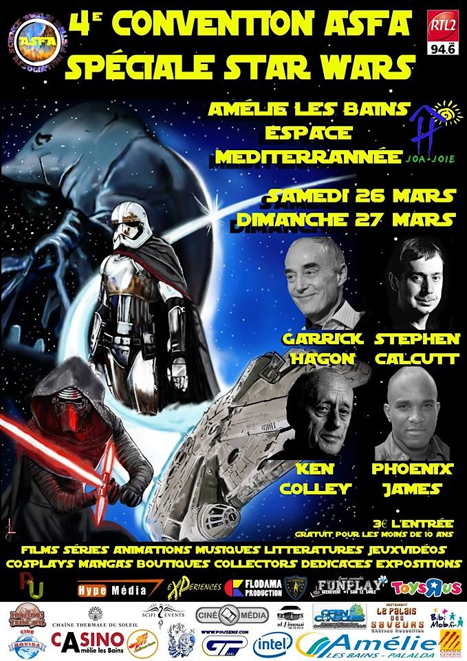 Phoenix James at Convention ASFA Spéciale Star Wars in Amélie les bains, South of France with Garrick Hagon, Stephen Calcutt, Ken Colley