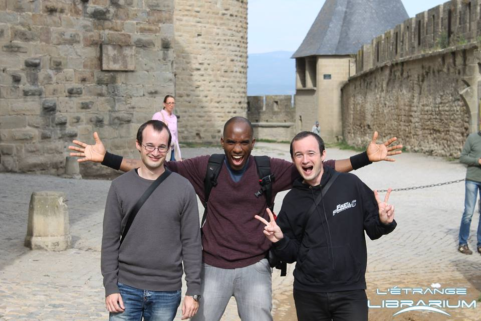 Phoenix James at The Château Comtal (Count's Castle) de Carcassonne with brothers, Gregory and Julien Debez, the organisers of the Cinespace event