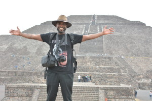 Phoenix James at the Teotihuacan Pyramids and The National Museum of Anthropology in Mexico