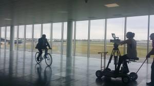 Phoenix James bicycle cycling fun filming in Farnborough