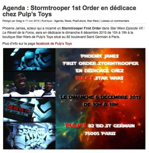 Phoenix James - First Order Stormtrooper - Actor in Star Wars Episode VII at Pulp's Toys, Paris, France - Toyz Mag