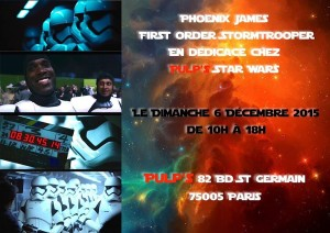 Phoenix James - First Order Stormtrooper Actor in Star Wars The Force Awakens at Pulps Toys Paris France