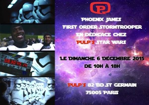 Phoenix James - First Order Stormtrooper - Actor in Star Wars The Force Awakens in Paris, France at Pulp's Toys