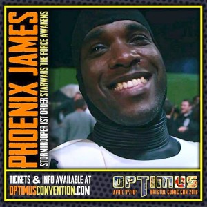 Phoenix James - First Order Stormtrooper Actor - Star Wars - The Force Awakens - Guest Appearance and Autograph Signing at Optimus Comic Convention - Bristol