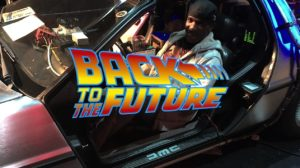 Phoenix James going 'Back to the Future' in the DeLorean