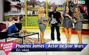 Phoenix James Live on Faranduleros showbiz and entertainment television show on Channel ONE Ecuador
