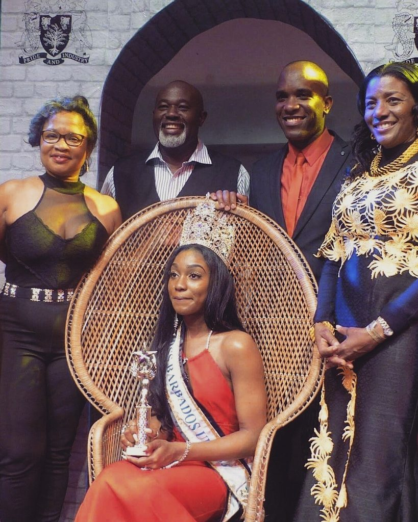 Phoenix James on stage at Miss Barbados UK 2016.