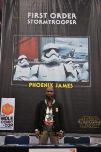 Phoenix James - Star Wars Episode 7 8 9 VII VIII IX First Order Stromtrooper Actor at La Mole Comic Con in Mexico - Photo by Marianne Perez Mooren