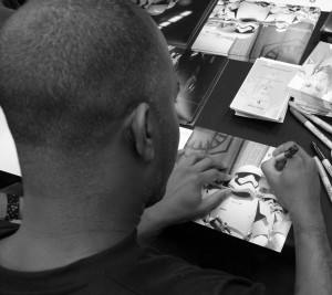 Phoenix James - Star Wars The Force Awakens First Order Stormtrooper Actor Autograph Signing at Pulp's Toys in Paris, France 2 Episode 7 8 9 VII VIII IX