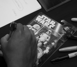 Phoenix James - Star Wars The Force Awakens First Order Stormtrooper Actor Autograph Signing at Pulp's Toys in Paris, France 3 Episode 7 8 9 VII VIII IX