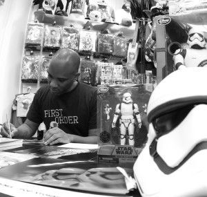 Phoenix James - Star Wars The Force Awakens First Order Stormtrooper Actor Autograph Signing at Pulp's Toys in Paris, France 8