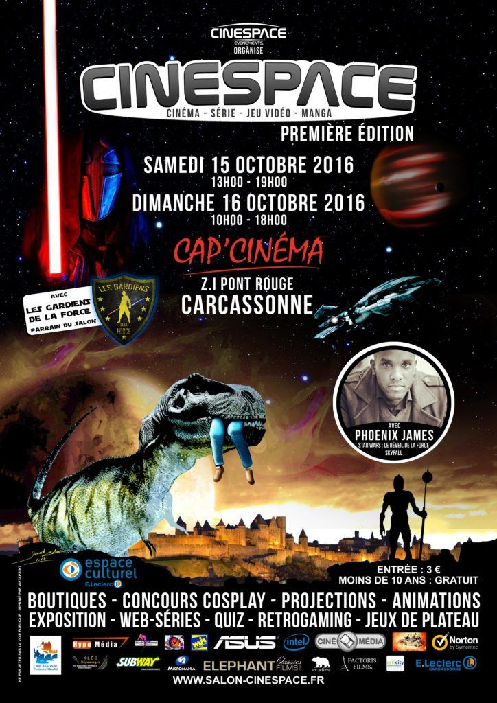 Phoenix James will be guest appearing at the 1st edition of CineSpace on 15th-16th October at Cap'Cinéma in Carcassonne southern France