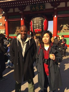 Phoenix James with photographer Kazuma Kita at Sensoji Asakusa Kannon Temple in Tokyo Japan