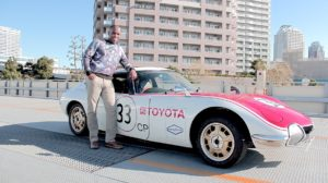 Phoenix James with Toyota 2000 GT at Rainbow Bridge Tokyo Bay in Japan