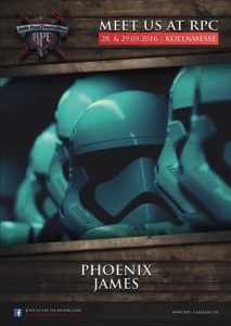 Star Wars - First Order Stormtrooper Actor - Phoenix James appears at RPC - Role Play Convention 10th Year Anniversary in  Cologne Koln Germany at Koelnmesse GmbH