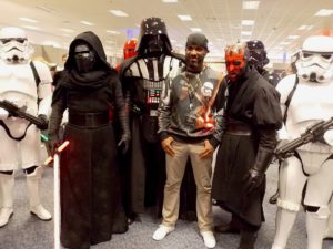 Stormtrooper Actor Phoenix James with members of the UK Garrison at Optimus Convention in Bristol